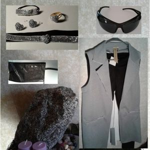 vest and leggings set, clutch purse and accessorie